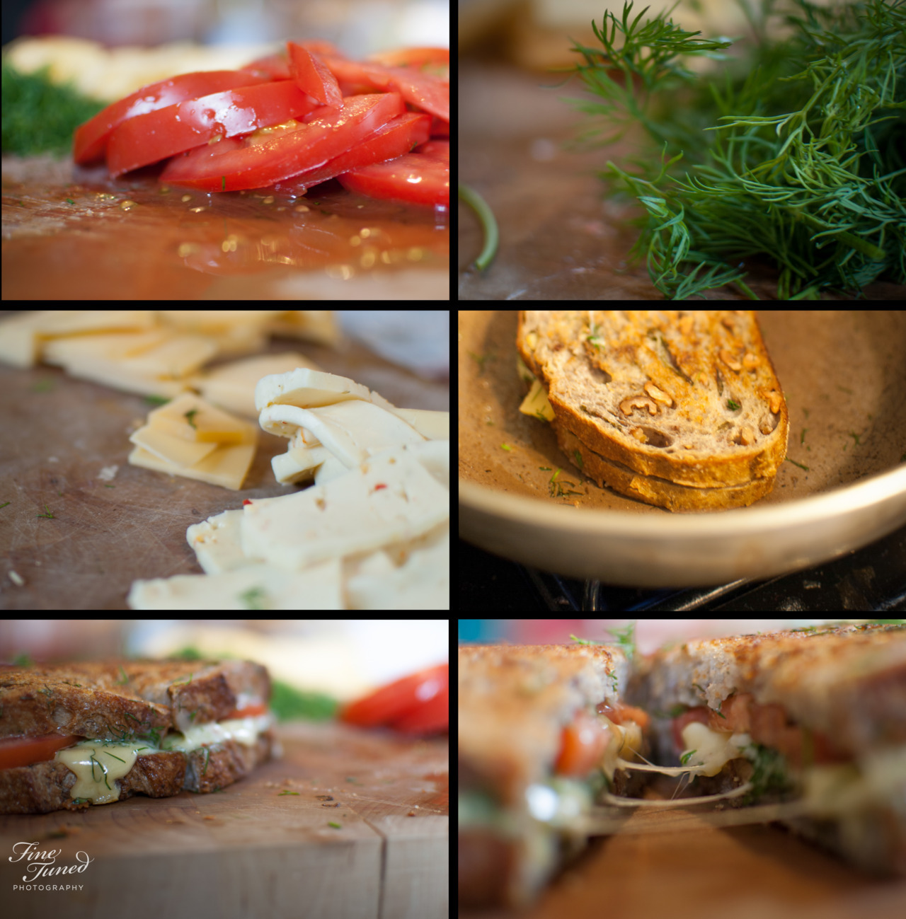 """Fresh dill, Gouda, Havarti, tomato, and walnut bread. I like my grilled cheese slightly more """"gourmet"""" than most :)"""