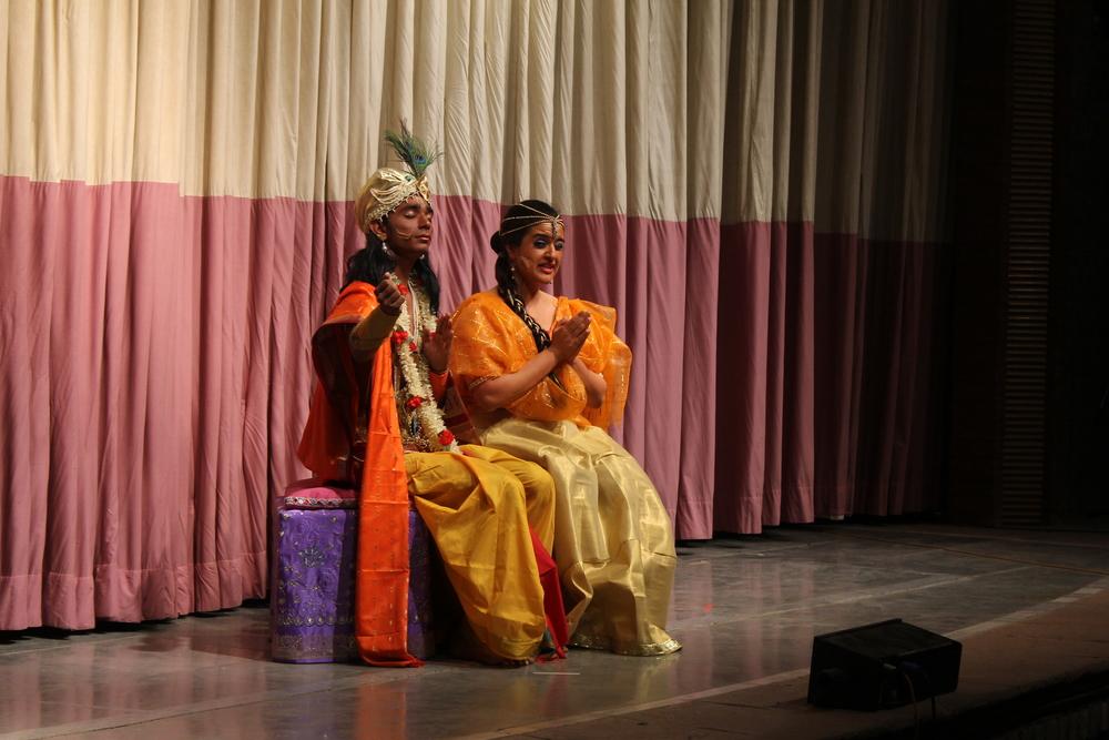 Krishna and Young Panchali, scene where Krishna convinces her of her Beauty.JPG