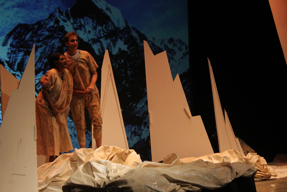 Mahaprayaan, with yudhisthir in the mountains.JPG