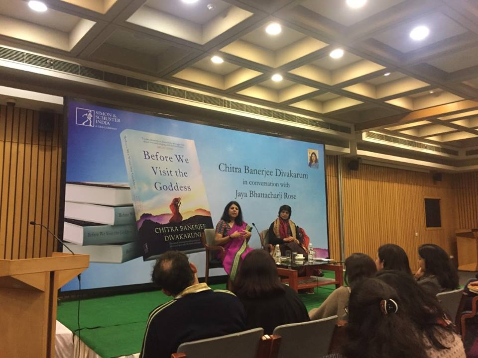 DELHI LAUNCH OF BEFORE WE VISIT THE GODDESS PAPERBACK. ONSTAGE WITH JAYA BHATTACHARJEE ROSE