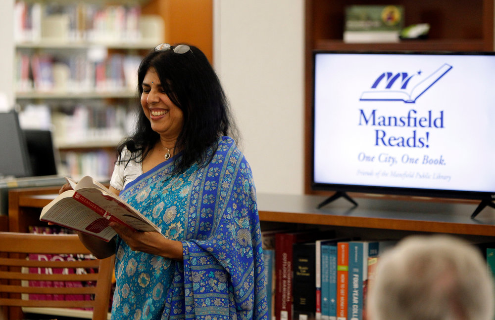DIVAKARUNI READS FROM OLEANDER GIRL, WHICH WAS CHOSEN AS THE CITYWIDE READ FOR MANSFIELD, TEXAS.
