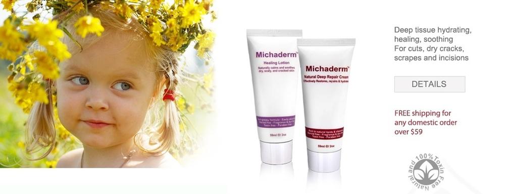 Michaderm natural repair lotions for rashes and damaged skin