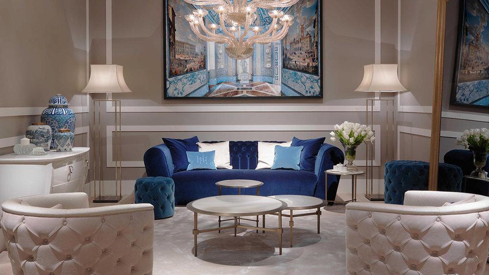 HH Nemo Sofa, Vienna Armchairs, Saturno Coffee Tables