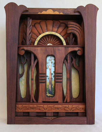 museum box (habitat)  cedar, redwood, carved wood, gouache, wax 13.5H (variable) x 25.5W (variable) x 10cmD