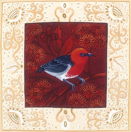 scarlet honeyeater 'Australian birds' series  13cm x 13cm editions of 80    $60