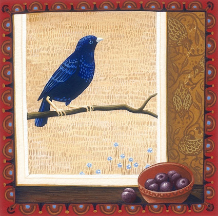 bowerbird and plums 'Australian birds' series  13cm x 13cm editions of 80    $60