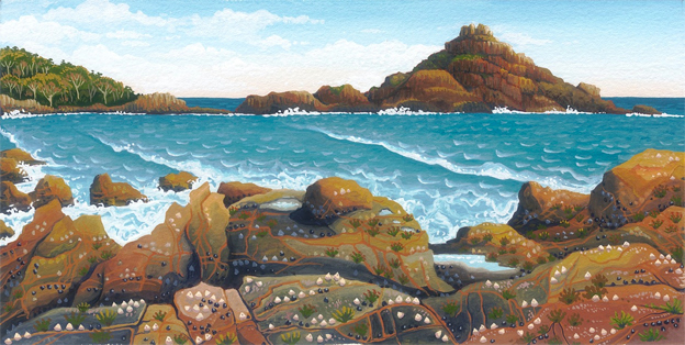 northeaster, Mimosa Rocks   'south coast' series  12.5cm x 24.5cm editions of 80    $60