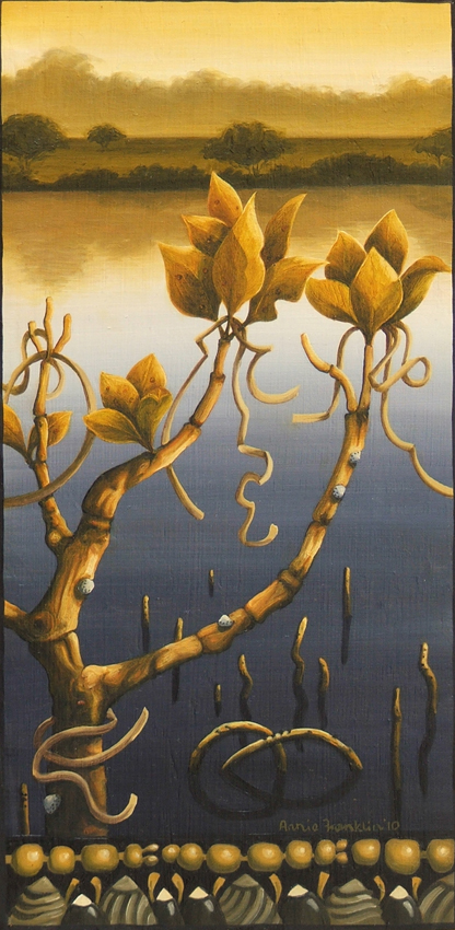 mangrove III  oil on board 31 x 16cm