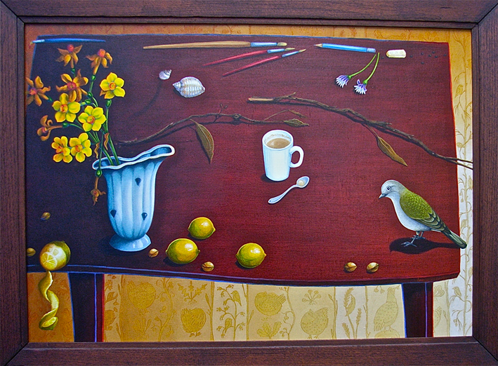 Sunday morning still life  acrylic and oil on board 65 x 90cm