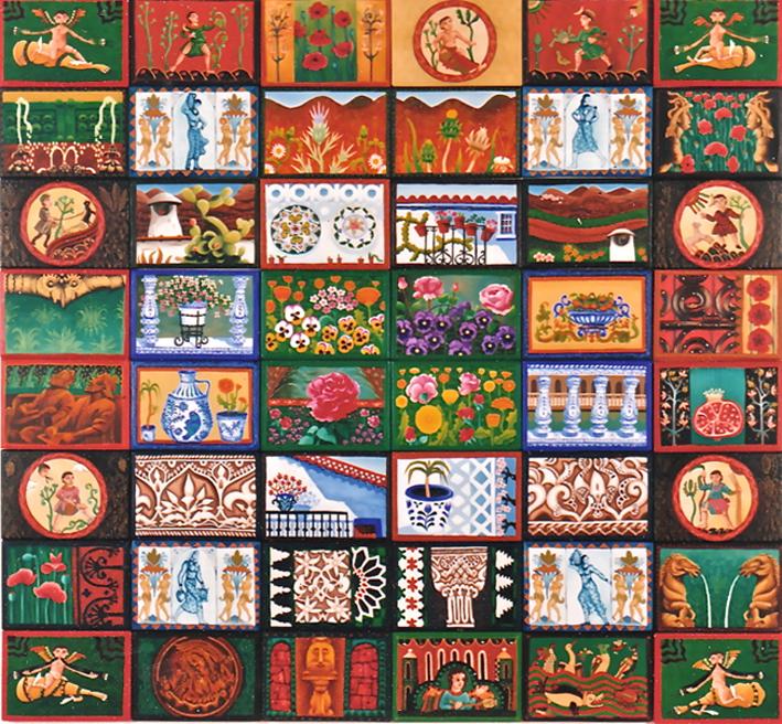 48 Spanish Gardens  oil & acrylic on boards 120 x 120cm