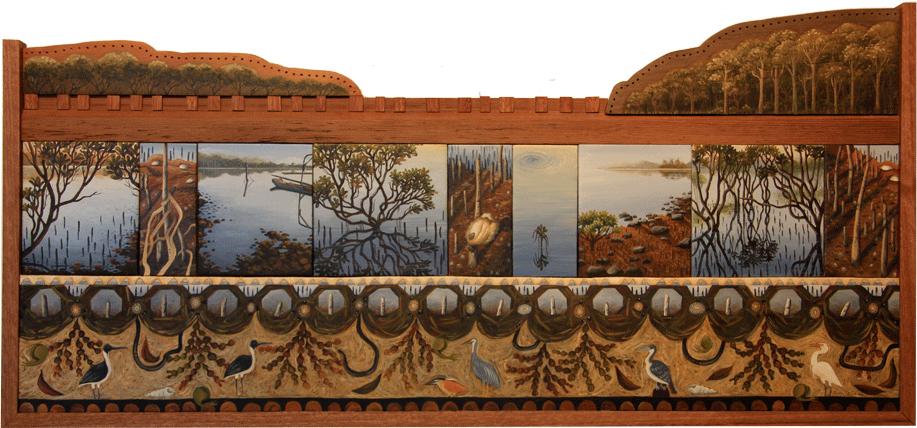 tidal zone V. mud and mangroves  oil on timber panels 39 x 82cm