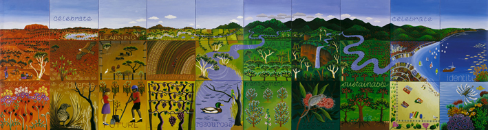 2000 Land and Water Australia  - Office mural acrylic on lino 90 x 3000cm