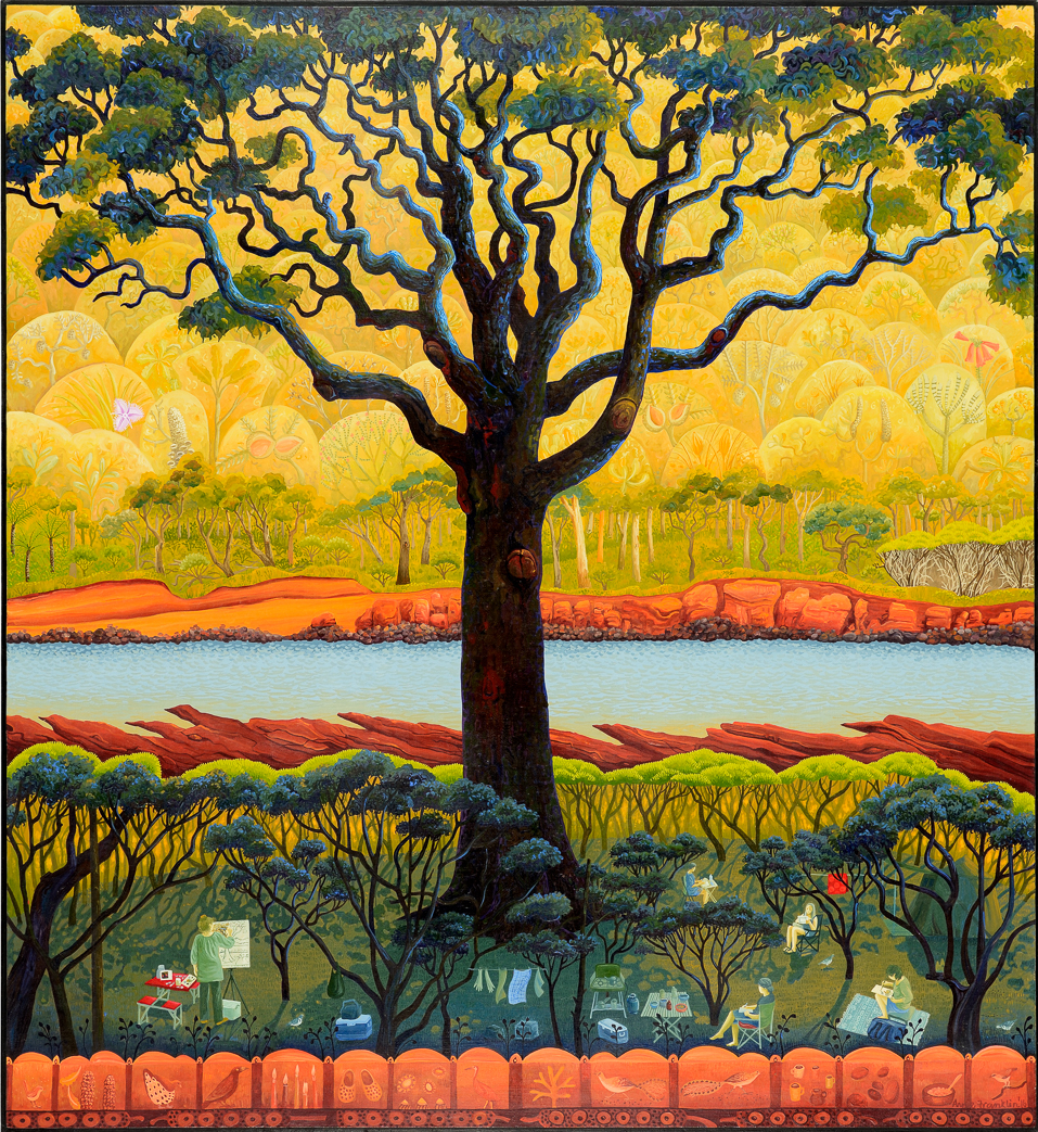 autumn art camp, Bittangabee Bay   gouache and wax on board 87 x 80cm