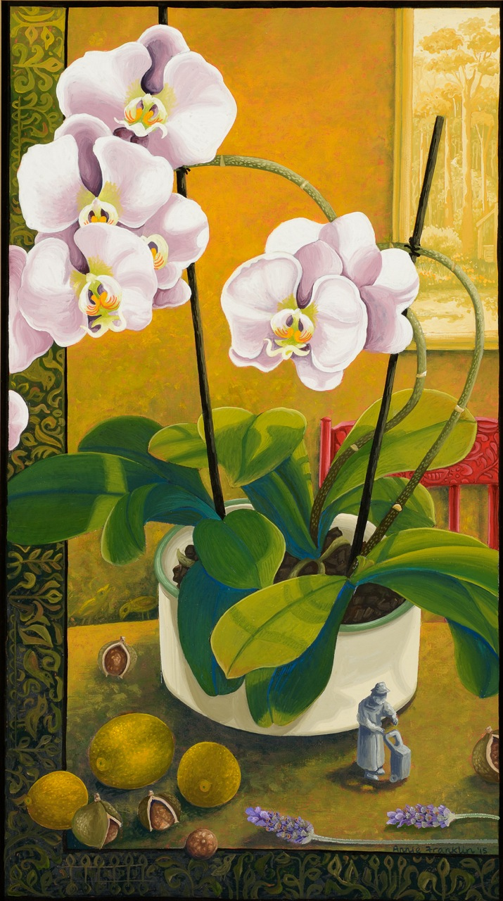 winter still life with orchids   gouache and wax on board 49 x 29cm