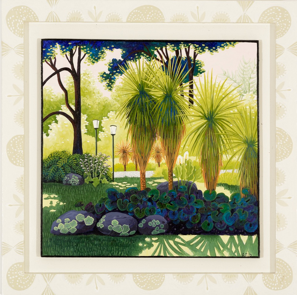 Fitzroy gardens, summer, 39 degrees   gouache and wax on board 27.5 x 27.5cm