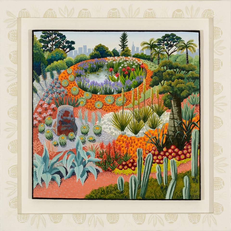 Royal Botanic Gardens, summer, 36 degrees   gouache and wax on board 27.5 x 27.5cm