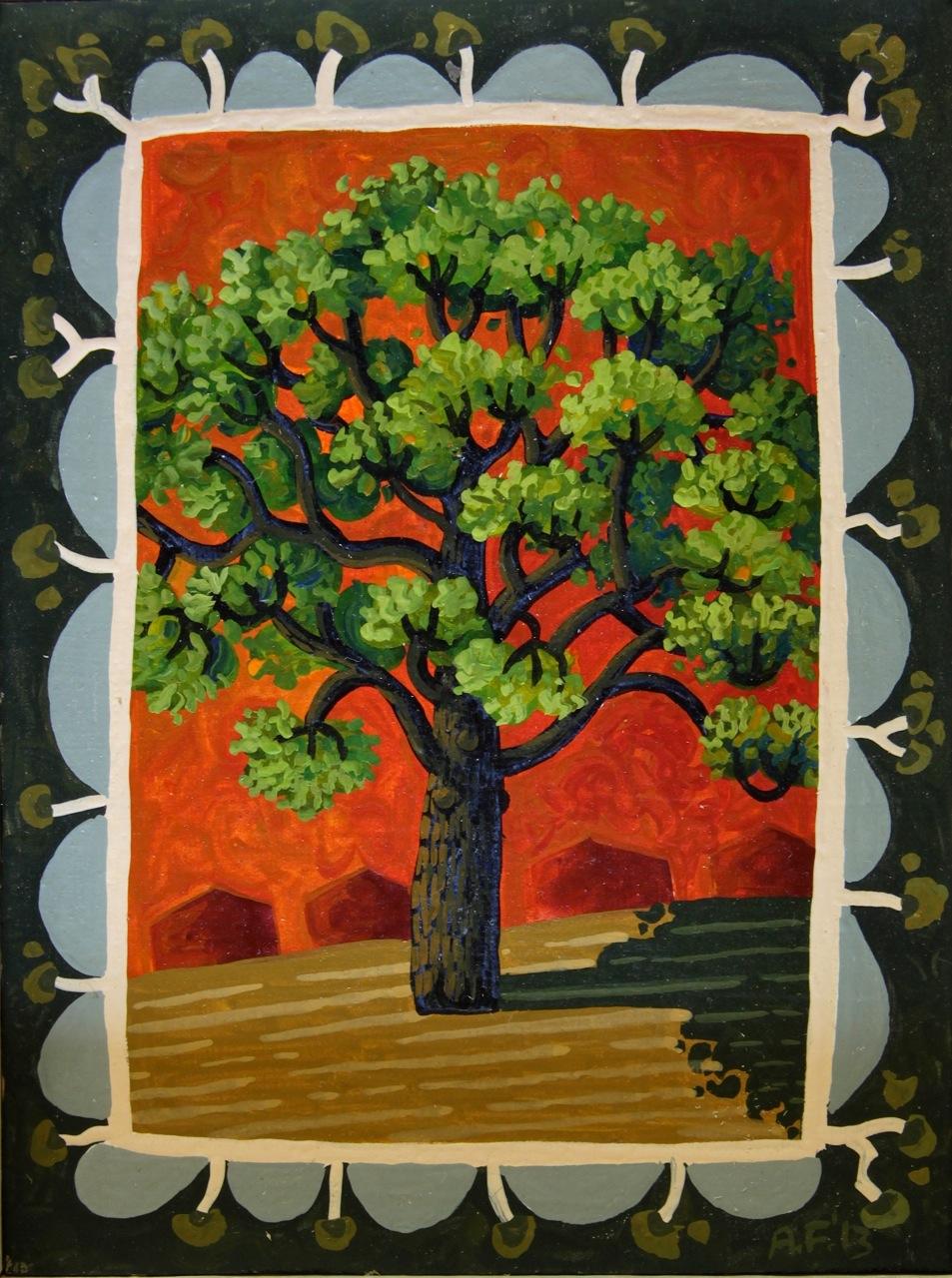 Dooring Street oak   gouache and wax on board 14.5 x 12cm