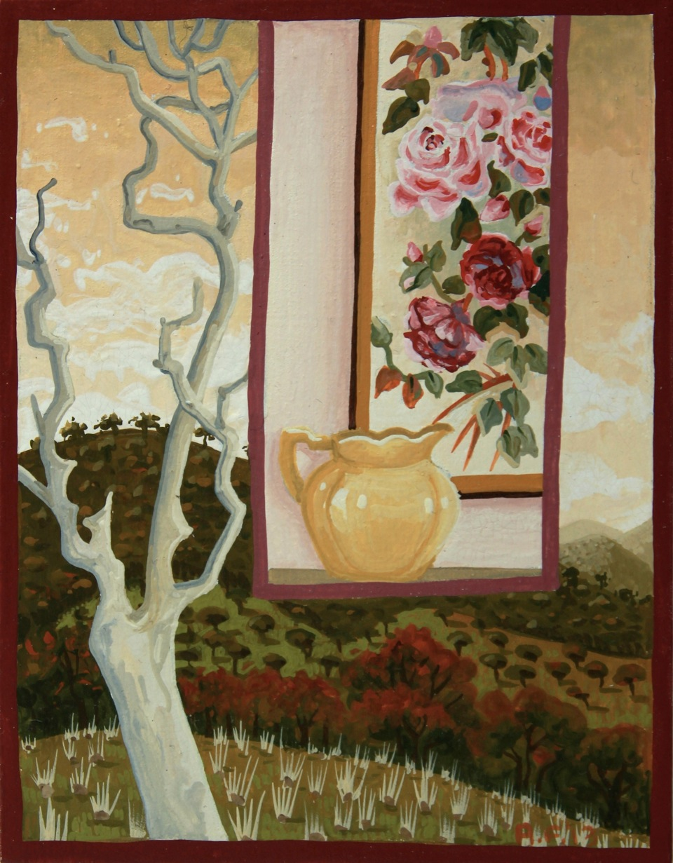 the ridge and the roses   gouache and wax on board 14.5 x 12cm