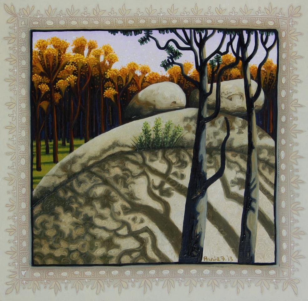 Tidbinbilla, granite shadows   oil and acrylic on board 26.7 x 27cm