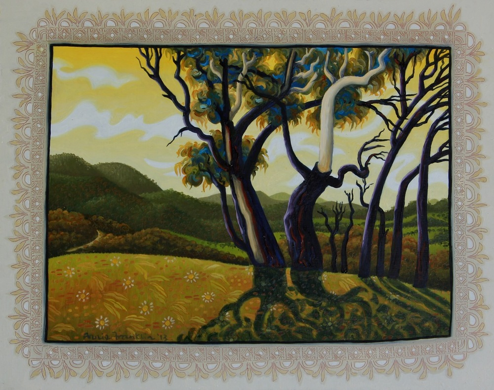 Tidbinbilla, afternoon with windy clouds   oil and acrylic on board 26.7 x 33cm