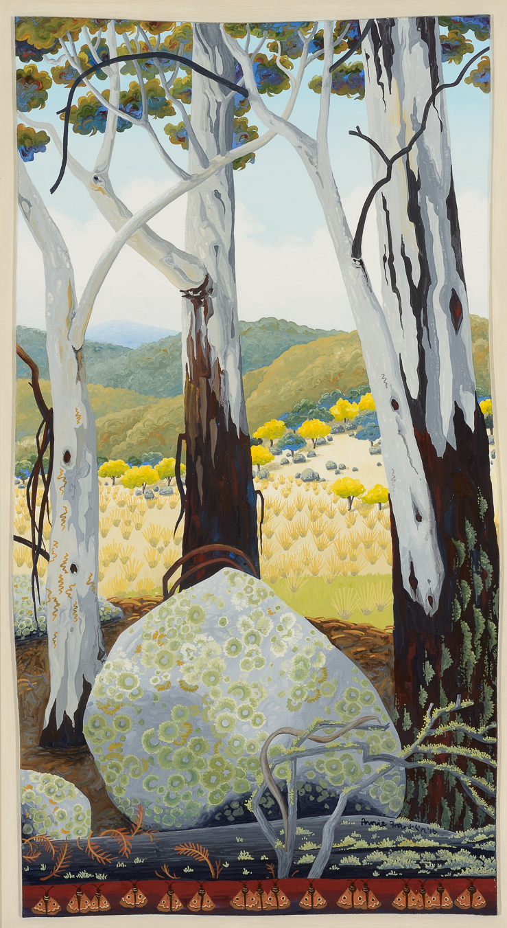 granite and lichen, Monaro plains    gouache and wax on board  49 x 29.5cm