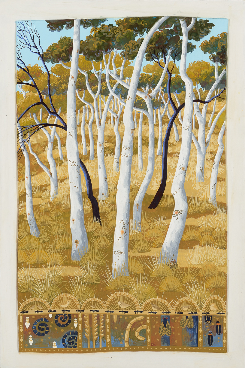 scribbled gums, Mt Ainslie    gouache and wax on board  49 x 33.5cm