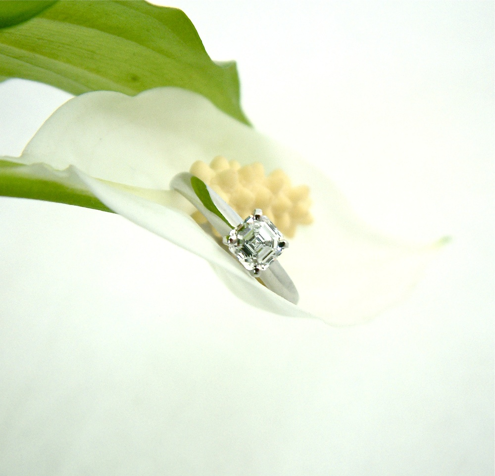 An elegant Asscher cut diamond solitaire ring for Patrick and Lorna, made with a recycled materials