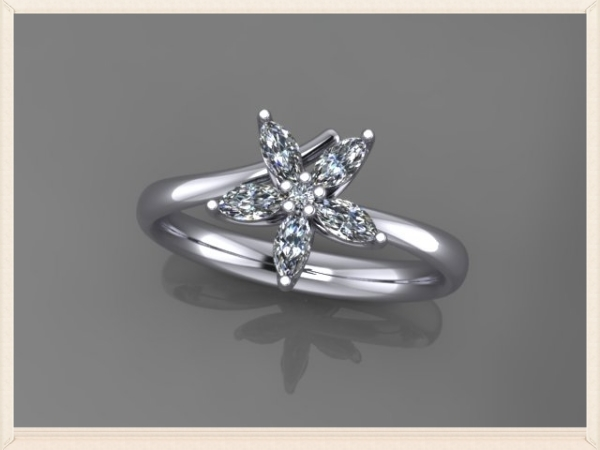 virtual image of an ethical engagement ring made from marquise diamonds and recycled platinum