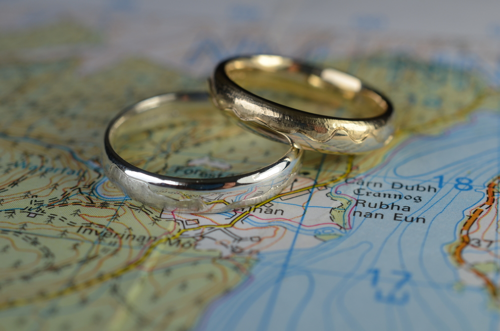 Base wedding bands around a map outline or view that is special to you