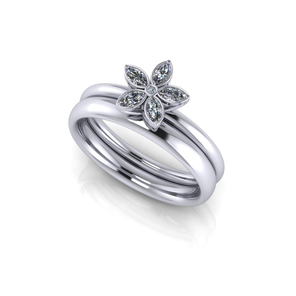 Beautiful marquise diamonds set in platinum making a perfect flower