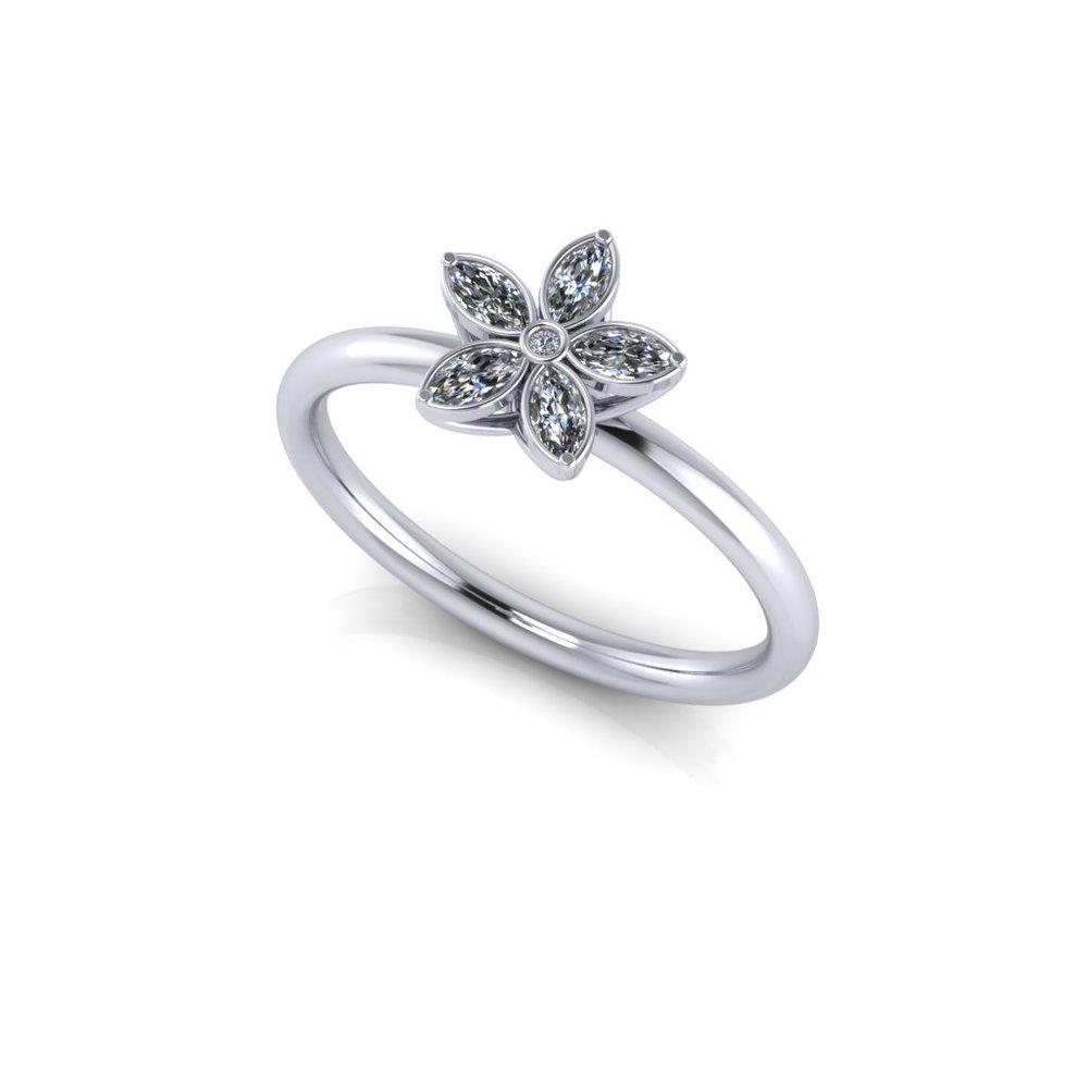 A diamond flower inspired engagement ring