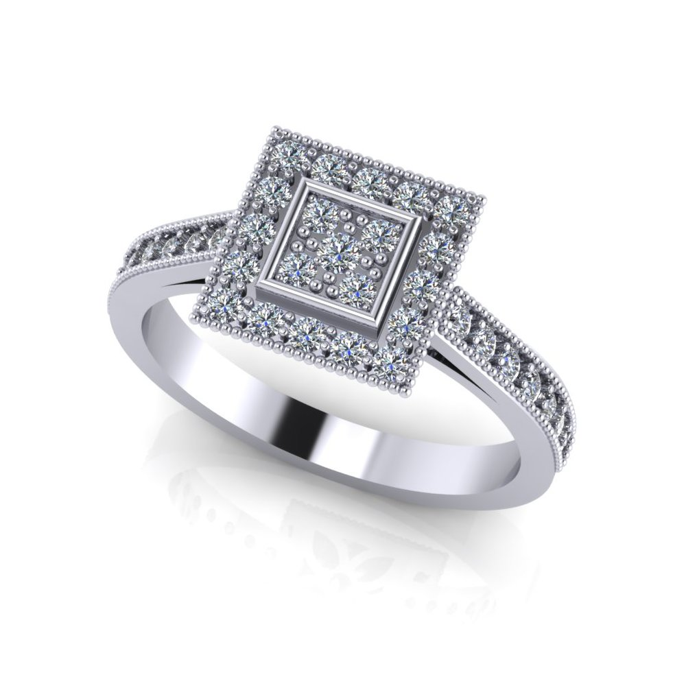 traditional square cluster ring