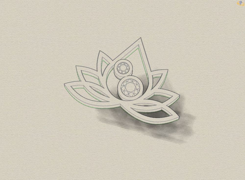 Emma's necklace made as a lotus to represent her love of meditation and martial arts, set with the brithstones of her children