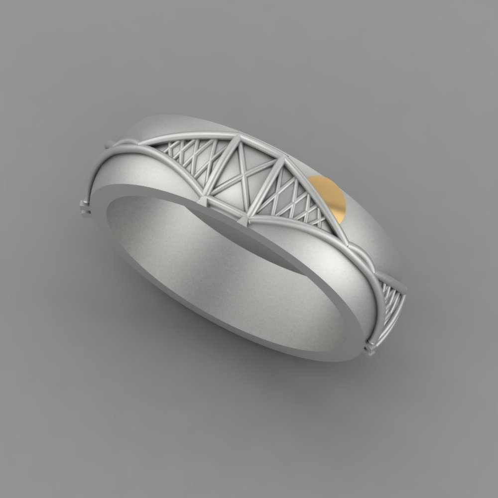 CAD render of bespoke Forth bridge wedding band