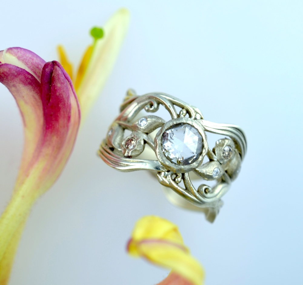 Rose cut diamond, recycled white gold ring, scattered small diamond accents