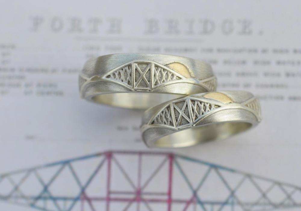 Forth bridge wedding rings