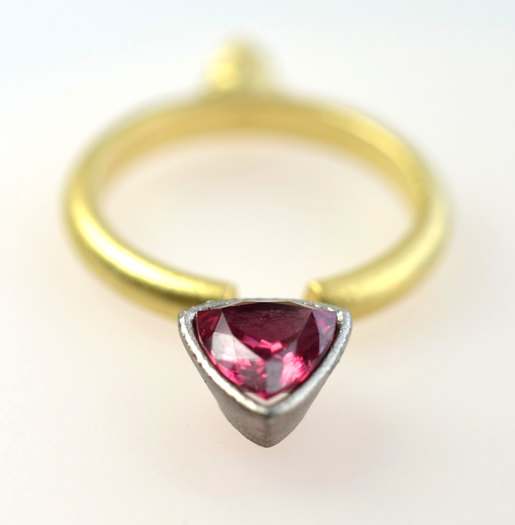 The components of the trillion ruby ring