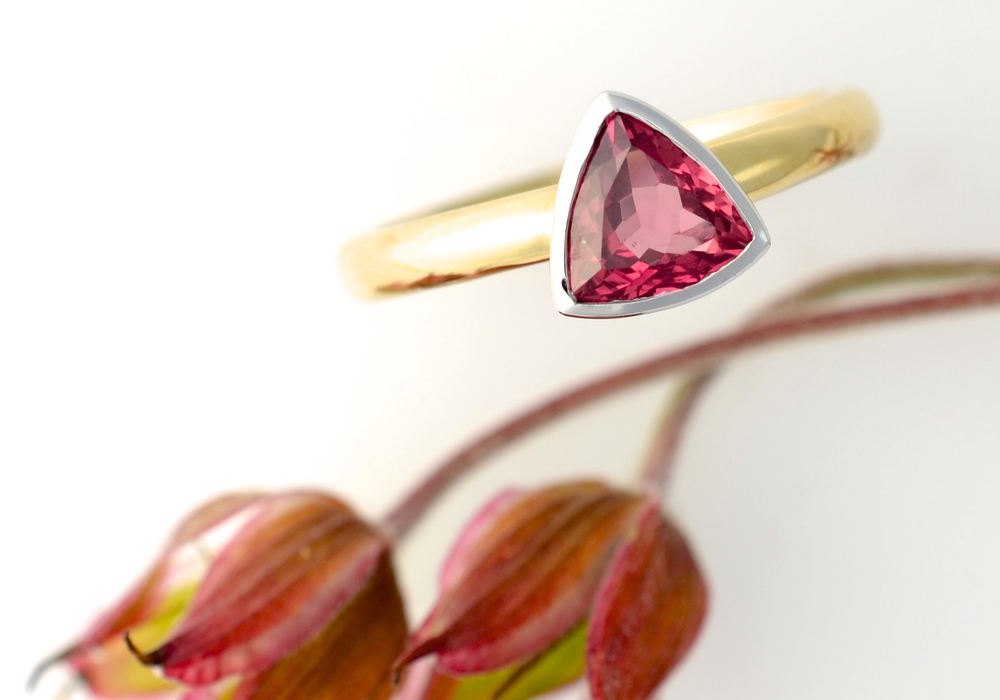 A bespoke ring for a significant birthday, with a trillion cut ruby