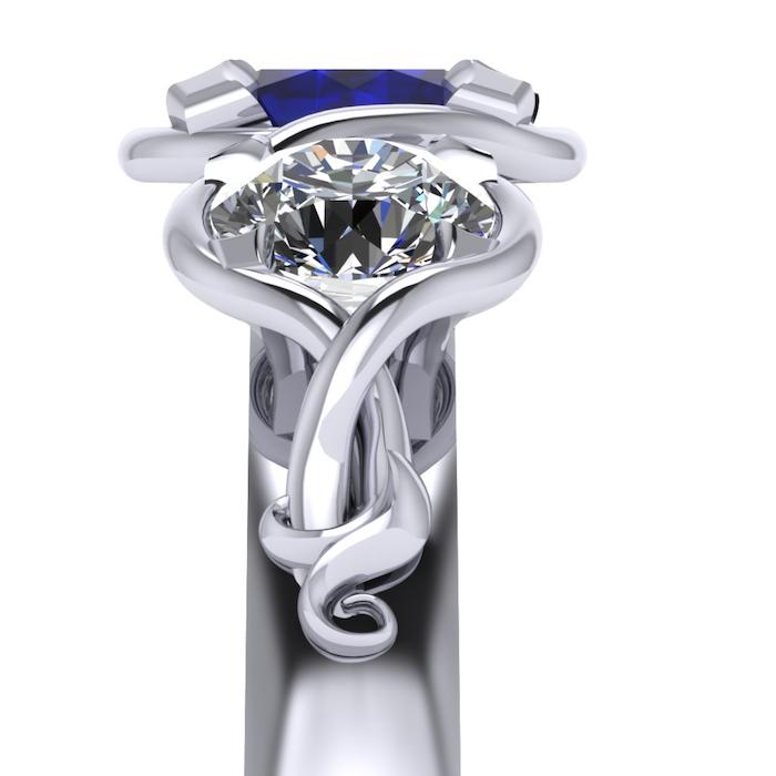 Top profile of the diamond setting detail