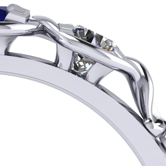 Side view of the diamond setting