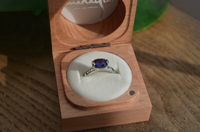The ring ready to be wrapped for presentation