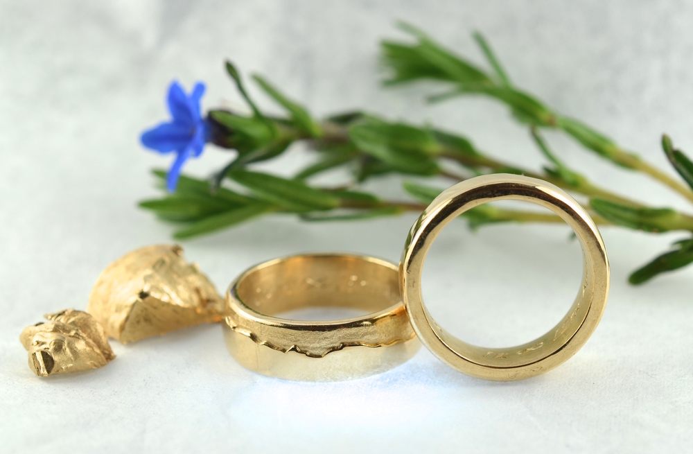 18ct wedding bands recycled from fine yellow gold, with landscape detail...