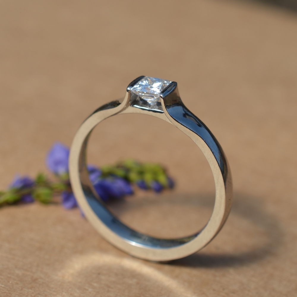 Classic recycled platinum diamond engagement ring