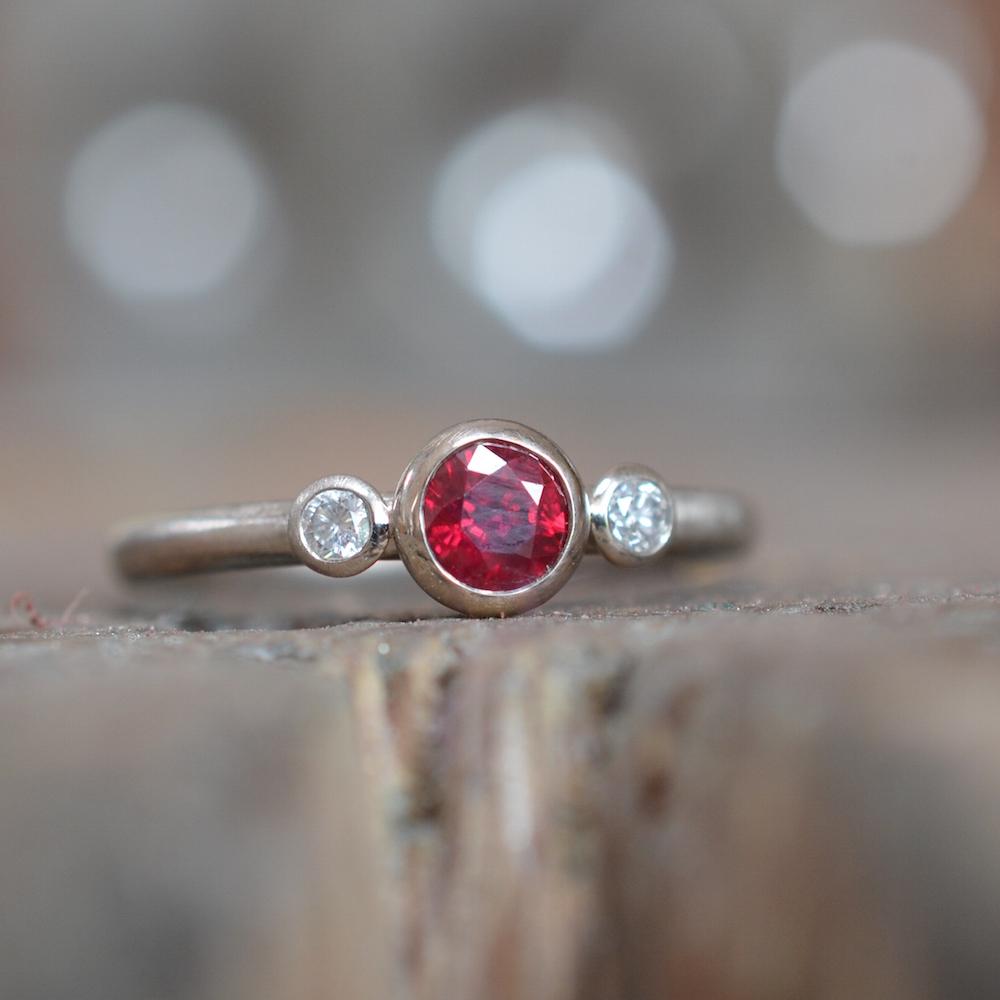 Pias' ruby & diamond engagement ring