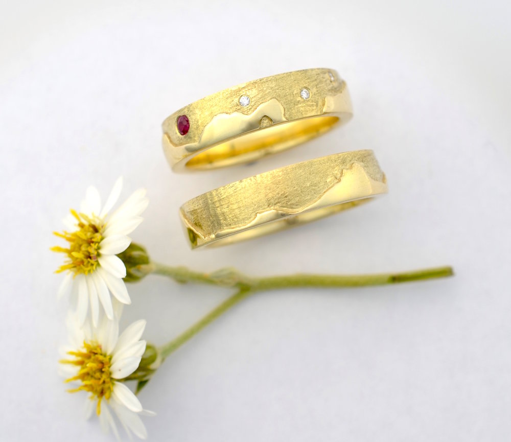 14ct, recycled, yellow gold wedding rings