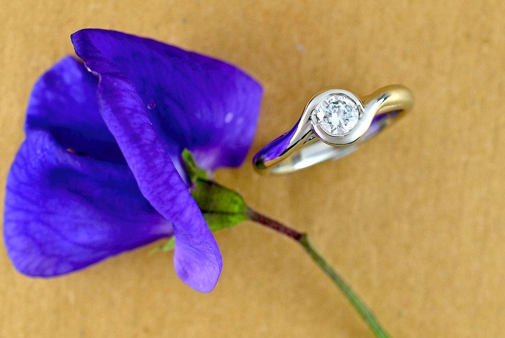 Heather's platinum solitaire engagement ring