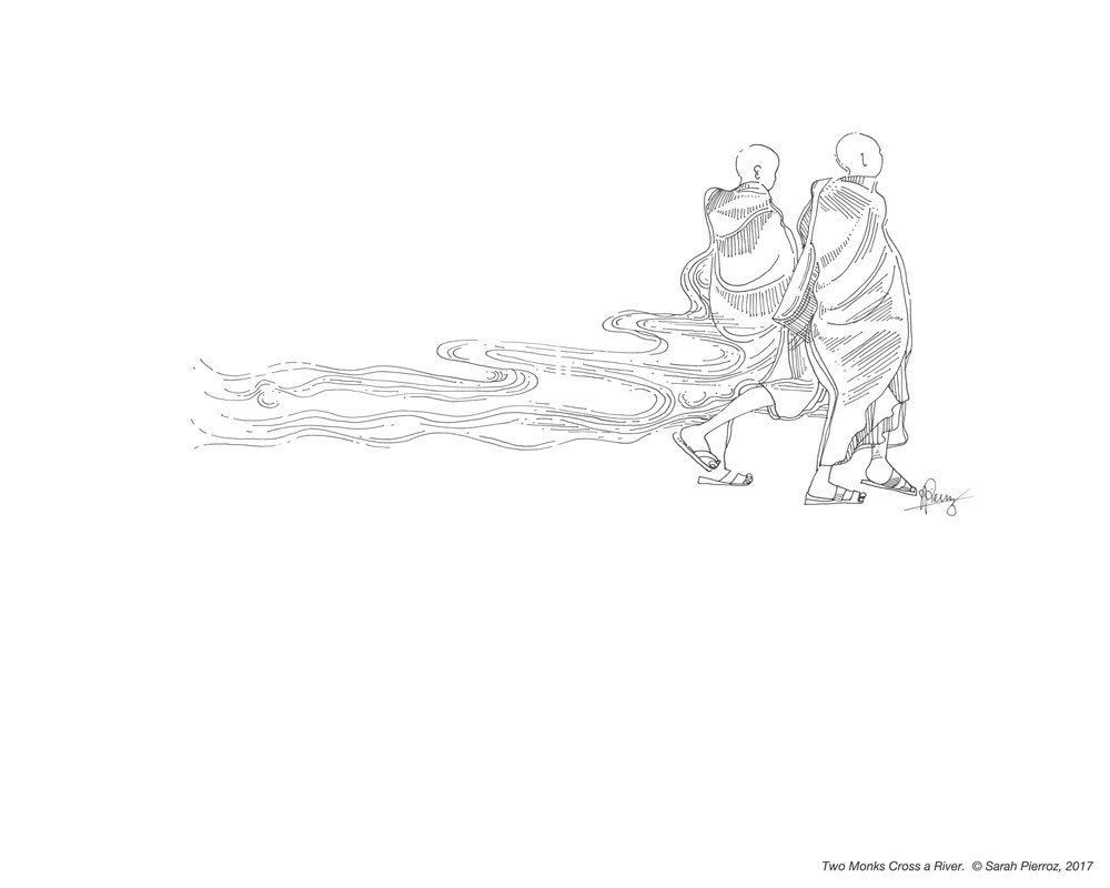 Two monks crossing a River, 2017      (A4, $30 USD)  (A3, $45 USD)