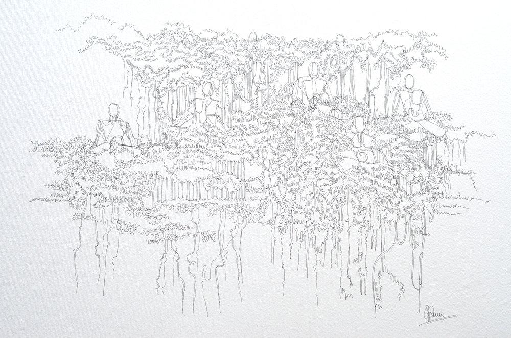 Yogi Tree, 2017  Hand-drawn only  (A3 $325 USD)(A2 $475 USD)