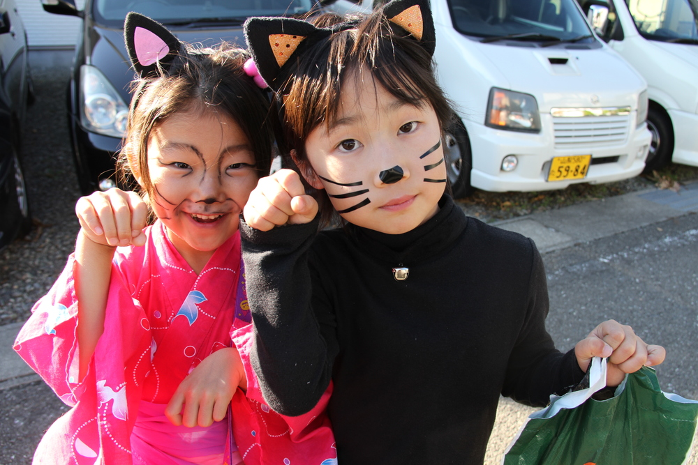 Two cats trick-or-treating.