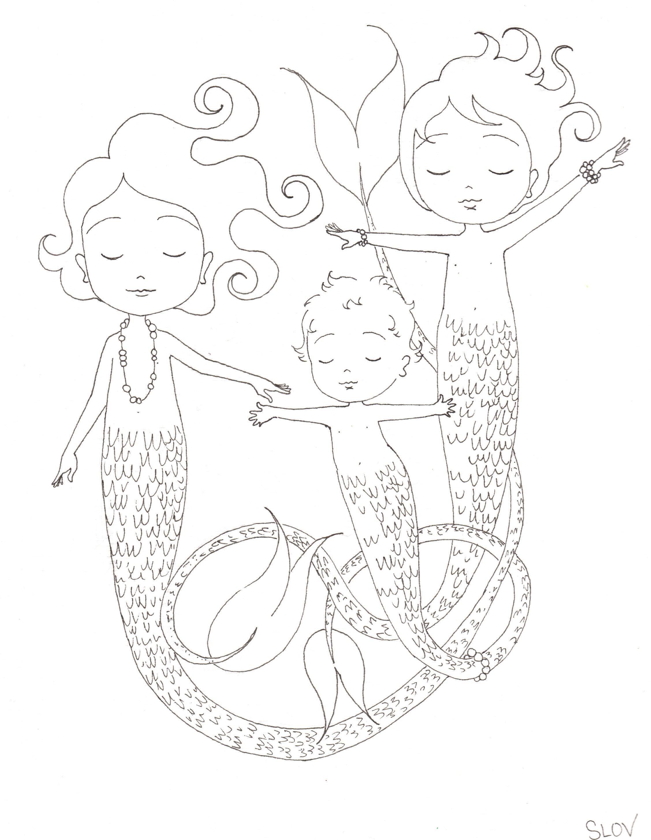 sleeping mermaids coloring page u2014 slovly